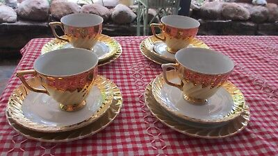 Vintage Gold Cups Saucers & Plates Sets x 4, Classic Australian Fine China