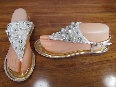 fabef11ff978 NEW Kate Spade New York Sama Thong Sandals Womens 7.5 Ivory w Pearls Bling   228