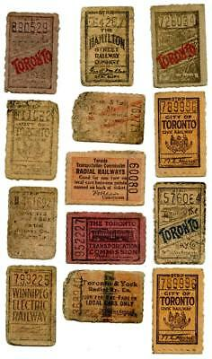 Lot of 13 Vintage Early 1900s Toronto Canada Transit Railway Streetcar Tickets