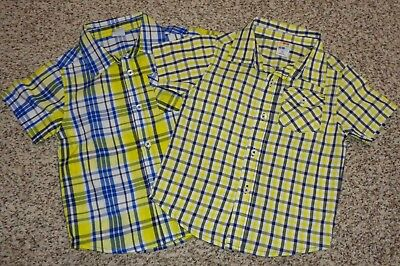 2 Toddler Boys Healthtex Plaid Shirts Short Sleeves Buttons Size 3T NEW