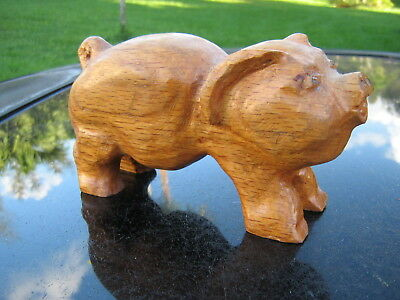 "Pig  6""  Wooden Hand Carved Vintage Item Great For Collection!"