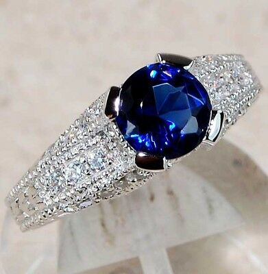 2CT Blue Sapphire & White Topaz 925 Genuine Sterling Silver Ring Jewelry Sz 7