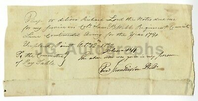 Ebenezer Huntington Revolutionary War Date Document 1782 - West Point Service