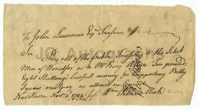 """Revolutionary War Document - Payment Supporting an Indian """"Billy Squaw"""" 1784"""