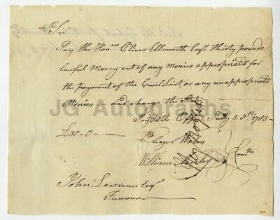 Revolutionary War Doc. A Pay Order to Oliver Ellsworth from 1783