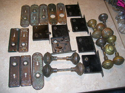 Large Lot Antique House Door Knobs & Hardware Some Brass