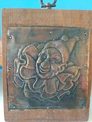 """Vintage Copper Clown Wood Wall Hanging. 5.5""""x4.5"""""""
