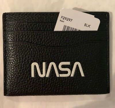 Coach NASA Slim Card Case Leather Wallet With Space Motif Black ~ F29297