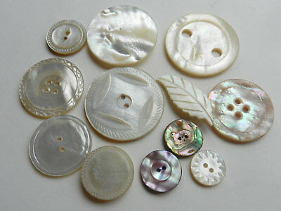 Variety Lot Antique VIntage Mother of Pearl Buttons Some Carved