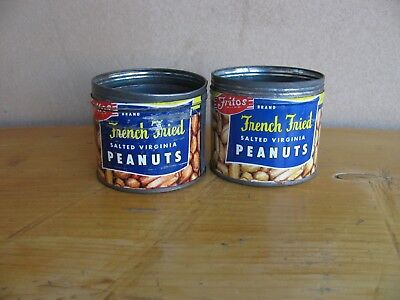 VTG Lot of 2 Fritos Brand French Fried Virginia Peanuts  Tin Can only