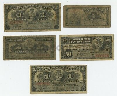 Cuba - Early-Mid 1900s - Lot of 5 Bank Documents, Notes and Currency - Habana