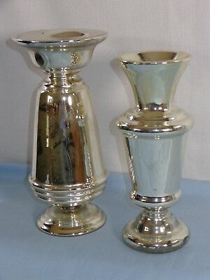 Pair of Antique Victorian Silver Mercury Glass Vases