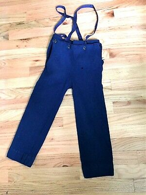 Primitive 1920s-30s Era Boys Overalls Britches Blue Wool
