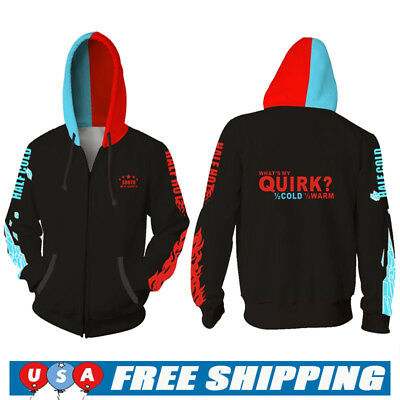My Hero Academia Hoodie Anime Sweatshirts  Coat Todoroki Shoto Cosplay Jacket US