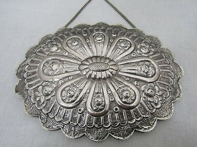 Vintage Ornate Sterling Silver Floral Repousse Hanging Wall Mirror