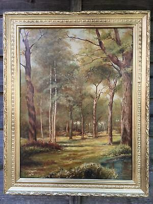 Large Antique Victorian Oil Painting In Gold Gilt Frame, Signed Wilson