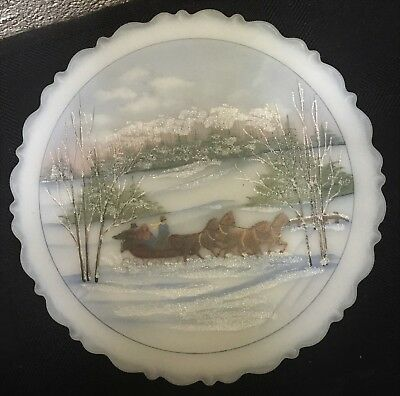 1st in Series 1990 FENTON Hand Painted Signed Sleigh Ride Christmas Plate