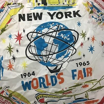 1964 1965 NY Worlds Fair Official Silk Scarf Red Border Vintage