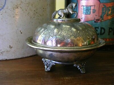 1800's Silverplate Round Domed Butter Dish Keeper Drainer Horse Presentation