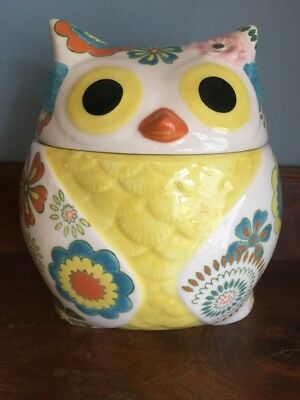 Pier 1 Imports Hand painted Stoneware Owl Large Cookie Jar Canister W/ Lid EUC!