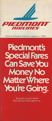 Piedmont Airlines system timetable 8/1/80 [308PI] Buy 2 Get 1 Free