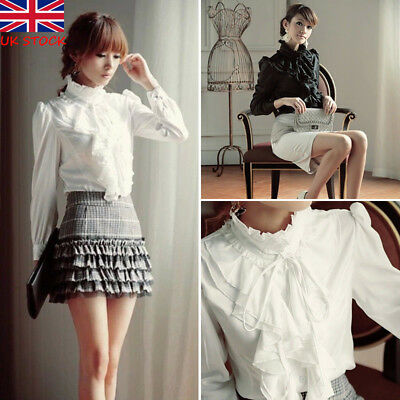 2f1a8e724b5223 Women Vintage Victorian Shirt Long Sleeve Ruffle Trim Top Blouse Slim OL  Clothes