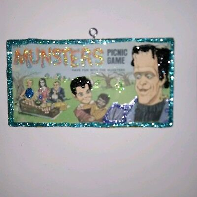 The MUNSTERS Picnic Game Box Cover Halloween Glitter Wood ornament