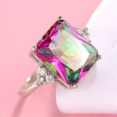 Special Price Super Huge Rainbow Mystic Fire Topaz Gems Silver Ring Size 6-10