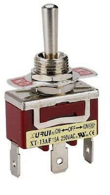 HEAVY DUTY SPDT (On)-Off-(On) Momentary Toggle Switch - Spade Terminals  (13Af)