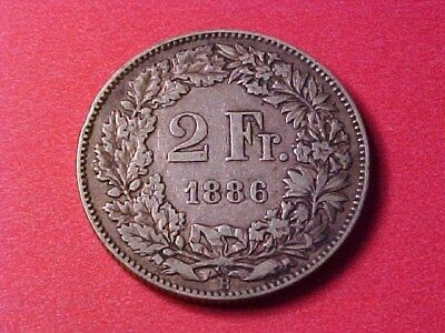 Switzerland 2 Francs Silver 1886-B Nice