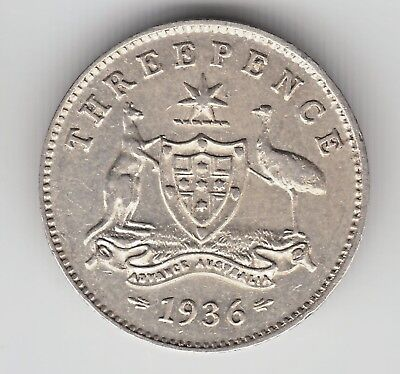 1x 1936 THREEPENCE 3d MINTAGE ONLY 3,600,000 WEAK STRIKE ON THE OBVERSE aUNC