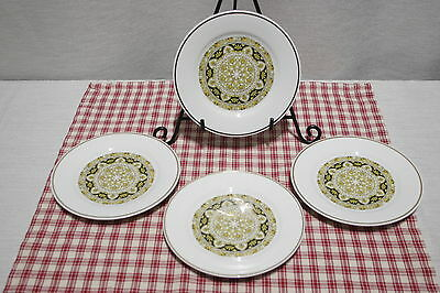 LOT of 4 Noritake Nitto Ware Felicity 2001 Black, Gold Bread and Butter Plates.