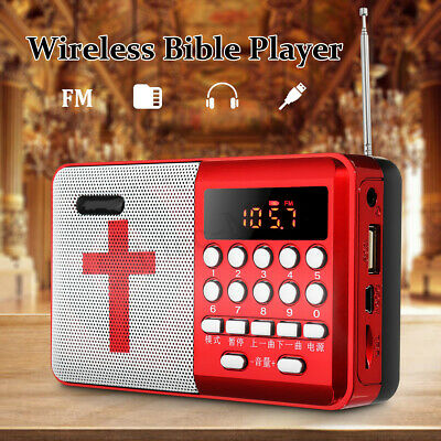Rechargeable Portable Bible Player Audio Speaker Talking FM Radio TF USB Gift