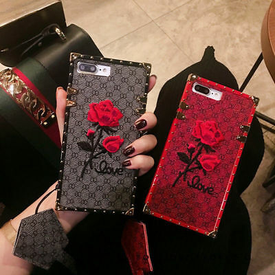Fashion Embroidery Rose Flower Soft Back Case Cover for iPhone X XS XR XS Max