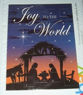 2 -JOY TO THE WORLD  CHRISTMAS ADVENT CALENDARS Religious 7+x10 NEW Cardstock