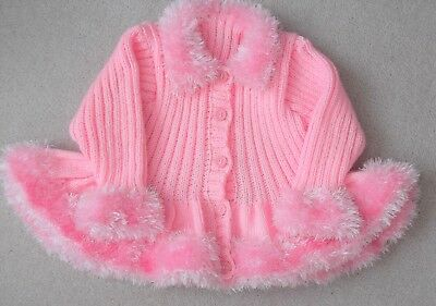"""Hand Knitted Baby Girl/Toddlers Swing Cardigan 20"""" Brand New"""