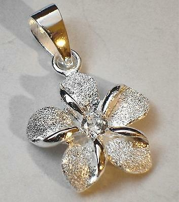 15mm Solid Sterling Silver Hawaiian Sparkly DC Plumeria Flower Clear CZ Pendant