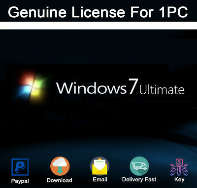 Genuine Windows 7 Ultimate 32/64 BIT Product Activation For 1PC