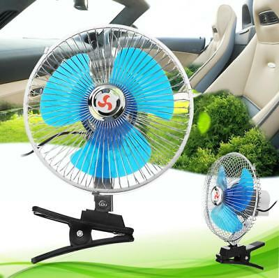 """Auto Car Fan Vehicle RV Dashboard Portable 8"""" Clip-On Oscillating 12/24V Cooling"""