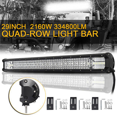 29'' Quad-row LED Arbeitsscheinwerfer Strahler Fluter Combo Offroad SUV 4WD ATV