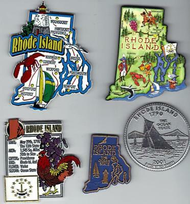 RHODE ISLAND  MAGNET ASSORTMENT 5 NEW STATE SOUVENIRS includes  ARTWOOD MAP
