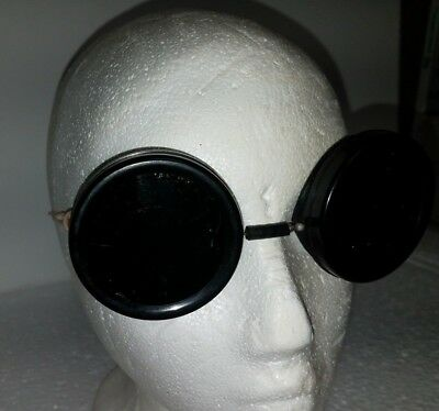 Vintage Welding Motorcycle Steampunk Goggles Safety Glasses Green Lenses 9266