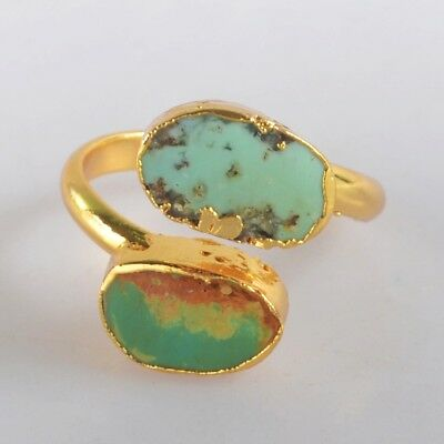 Size 7 Natural Genuine Turquoise Adjustable Ring Gold Plated H123817