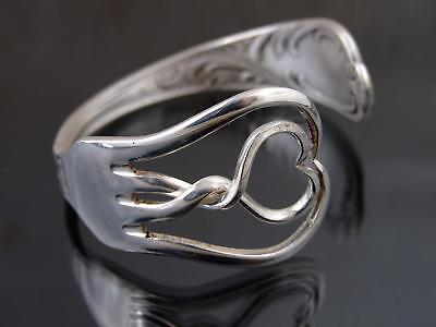 Silver Plated Heart Fork Bracelet Bangle Unusual Gift Vintage Unique Cutlery