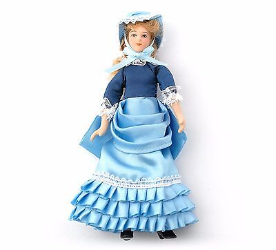DOLLS HOUSE DOLL 1/12th SCALE  VICTORIAN LADY IN BLUE SATIN DRESS AND BONNET