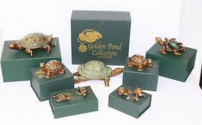 NEW~ GOLDEN POND COLLECTION by GREEN TREE SEA TURTLE GLASS FIGURES LOT