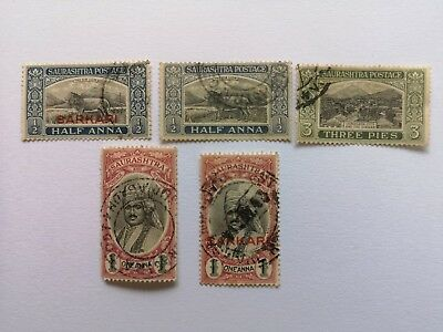 5 Different Indian States Stamp Collection - Soruth