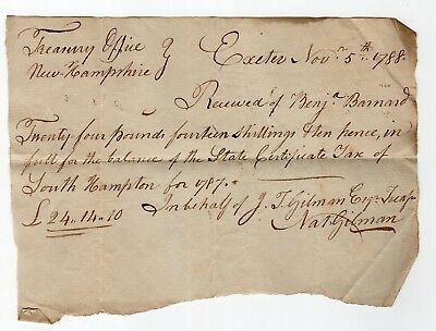 1787 Receipt for Payment of New Hampshire Certificate Tax