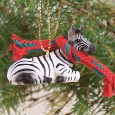 ZEBRA Scarf Ornament HAND PAINTED resin FIGURINE Christmas Safari ZOO ANIMAL