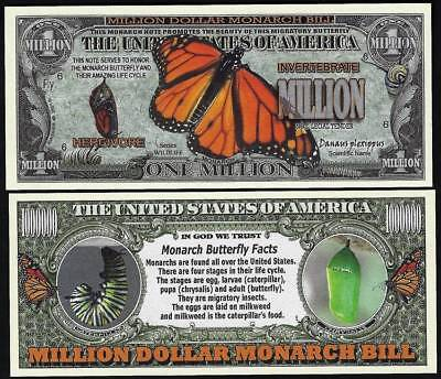 Lot of 100 Bills - Monarch Butterfly Million Dollar Novelty Bill with facts